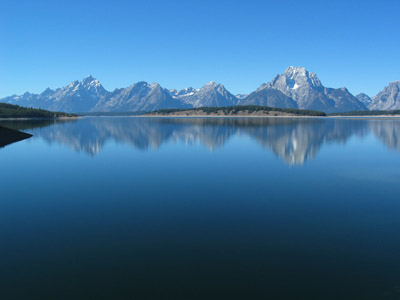 The Teton Range from the Jackson Lake Dam in Wyoming