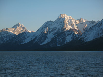 The Grand Teton (left), Mount Moran (right), and Jackson Lake. Grand Teton National Park, Wyoming.