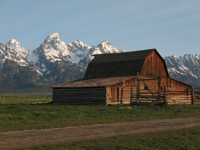 The Grand Teton from the Mormon Row Historic District. Grand Teton National Park, Wyoming.