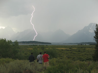 A lightning strike in front of the Teton Range in Wyoming