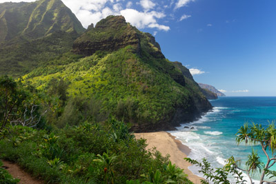 Hanakapiai Beach from the Kalalau Trail on Kauai