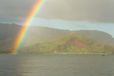 A rainbow over Kauai's Hanalei Bay on the morning of November 2, 2013