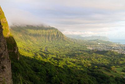 The Koʻolau Range on Oahu from the Pali Lookout at sunrise.
