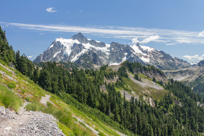 Mount Shuksan from the Chain Lakes Trail. North Cascades National Park in Washington State. July 17, 2015.