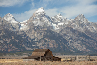 The Grand Teton from the Mormon Row Historic District. Grand Teton National Park, Wyoming. October 28, 2018.